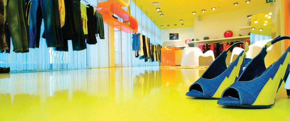 resin flooring in branded colours for boutique client