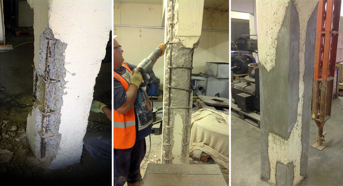 structural masonry repairs being carried out